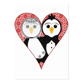 Married Penguin Lace Heart Business Cards