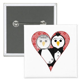 Married Penguin Lace Heart Buttons