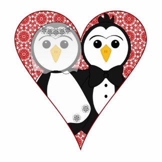 Married Penguin Lace Heart Statuette