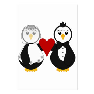 Married Penguins Holding A Heart Business Card Template