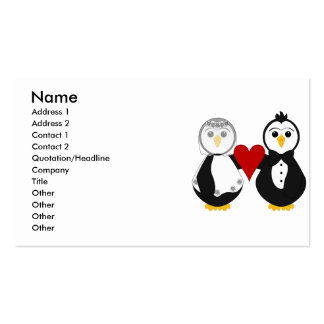 Married Penguins Holding A Heart Business Card Templates