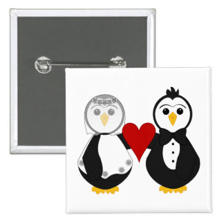 Married Penguins Holding A Heart Pinback Button