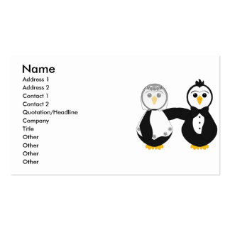 Married Penguins Holding Hands Business Card Template