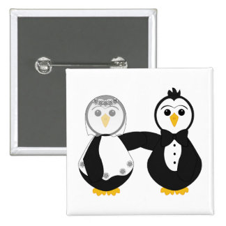 Married Penguins Holding Hands Pin