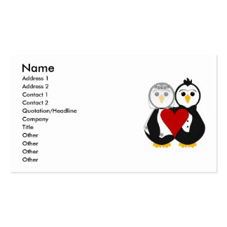 Married Penguins In Love Business Card Template