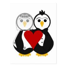 Married Penguins In Love Postcard