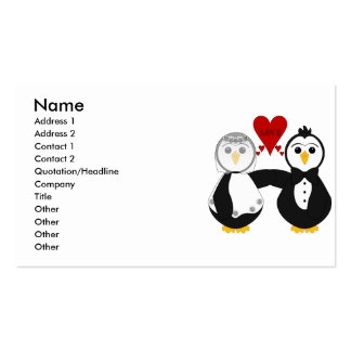 Married Penguins Thinking Love Business Cards