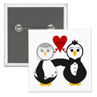 Married Penguins Thinking Love Button