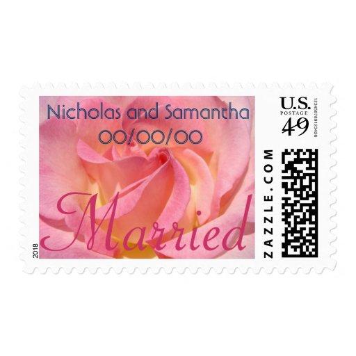 Married postage stamps Pink Rose Bride Groom Name