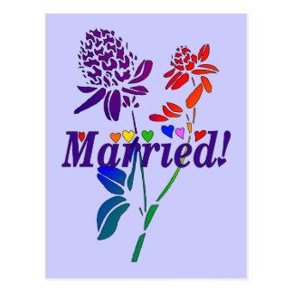 Married Rainbow Flowers Postcard