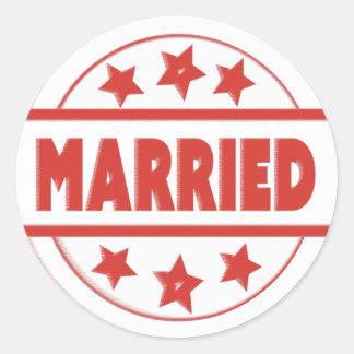 Married Stamp RedYour Custom Classic Round Sticker