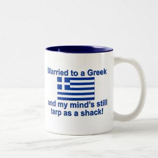 Married to a Greek Two-Tone Coffee Mug