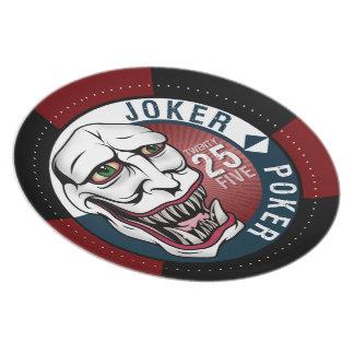 Marrón/azul del póker del comodín plato para fiesta
