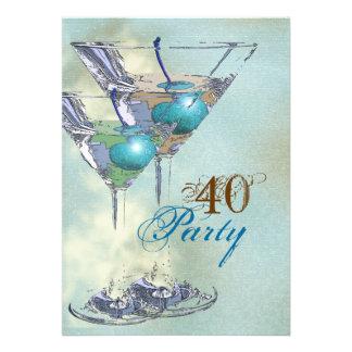 marrón azul elegante del 40 o cumpleaños comunicado personalizado