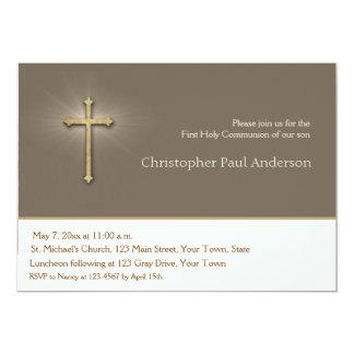 Marrón claro, cruz del oro, invitación religiosa