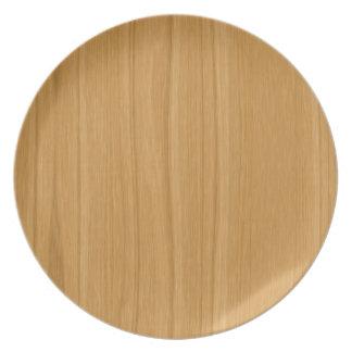 Marrón claro de madera plato para fiesta