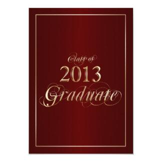 Marrón con clase e invitación graduada del oro