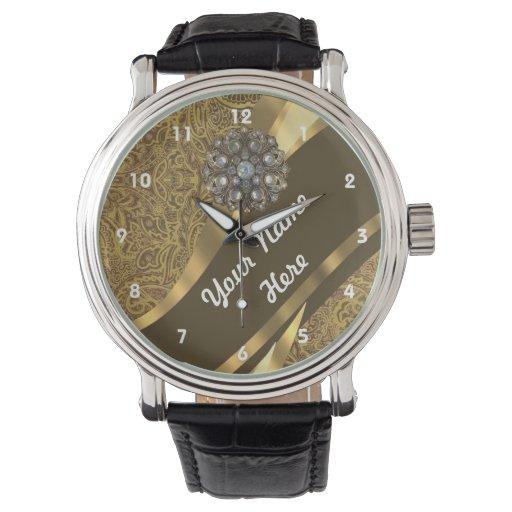 Marrón de Goden y modelo floral del damasco del Reloj