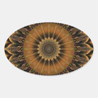 Marrón de la estrella de la mandala creado por Tut Calcomanía Óval