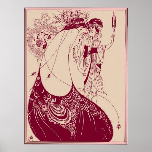 Marrón de la falda del pavo real de Aubrey Beardsl Posters