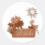 Marrón de las palmas y de Sun de la Florida Pegatina Redonda