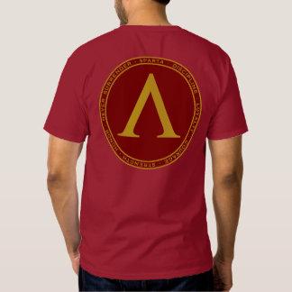 Marrón de Sparta y camisa del sello de la lambda