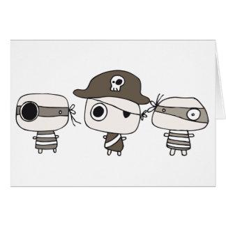 Marrón de tres piratas tarjetón