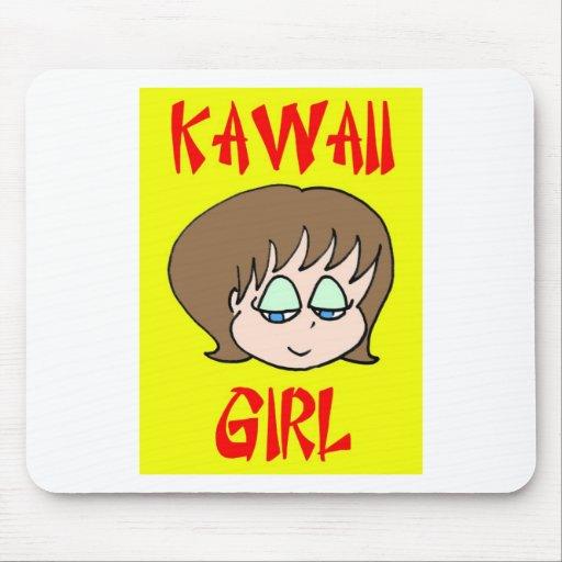 marrón del chica del kawaii alfombrillas de raton
