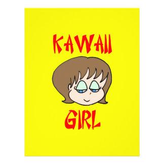 marrón del chica del kawaii flyer a todo color