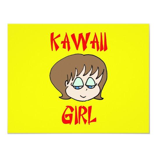 """marrón del chica del kawaii invitación 4.25"""" x 5.5"""""""