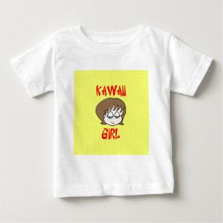 marrón del chica del kawaii playera de bebé