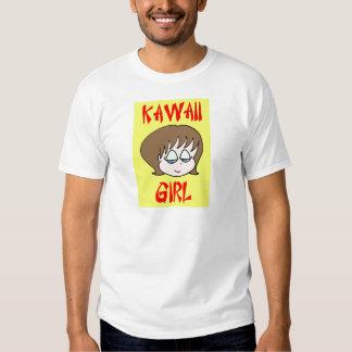 marrón del chica del kawaii playeras