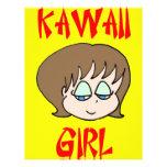 marrón del chica del kawaii tarjetas publicitarias