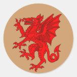 Marrón del dragón Galés - modificado para Etiquetas Redondas