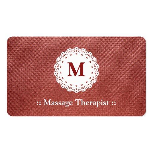 Marrón del monograma del cordón del terapeuta del  tarjetas personales