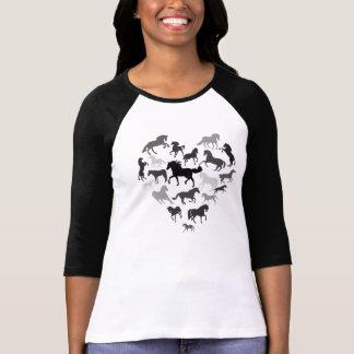 Marrón del negro del caballo y de la camiseta del  playera