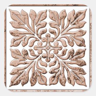 Marrón descolorado fresco de la teja inglesa pegatina cuadrada
