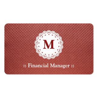 Marrón financiero del monograma del cordón del enc tarjetas de visita