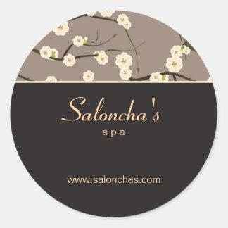 Marrón floral del pegatina de la flor de cerezo