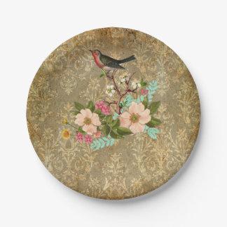 marrón floral del victorian del pájaro del damasco plato de papel de 7 pulgadas