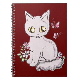 Marrón fresco BG del gato del gatito Libros De Apuntes Con Espiral