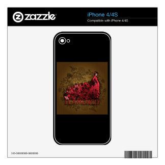 Marrón negro rojo del arte de la danza de España iPhone 4 Calcomanías