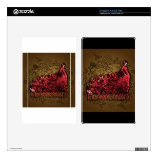 Marrón negro rojo del arte de la danza de España Kindle Fire Pegatinas Skins