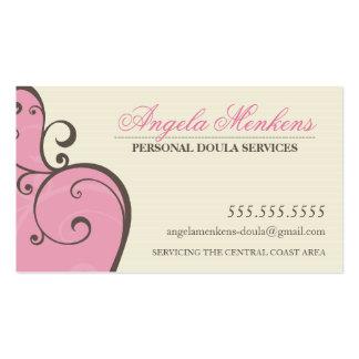 Marrón poner crema rosado de los remolinos creativ tarjetas de visita