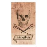 marrón punky del hairstylist del cráneo del grunge tarjeta de negocio