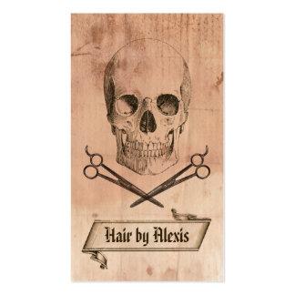 marrón punky del hairstylist del cráneo del grunge tarjetas de visita