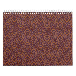 Marrón púrpura del modelo barroco calendarios de pared