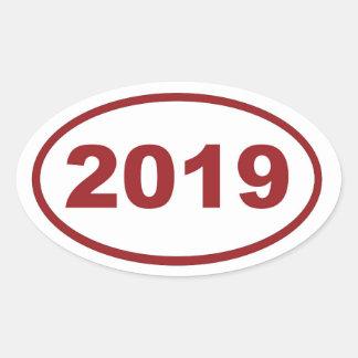 marrón rojo 2019 pegatina ovalada