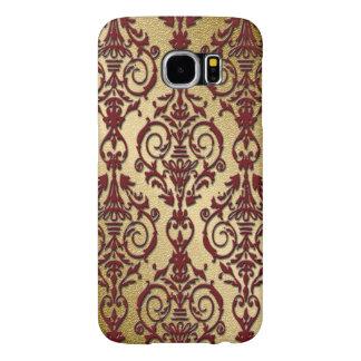 Marrón rojo de Borgoña del oro del damasco Fundas Samsung Galaxy S6
