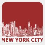 Marrón rojo de Nueva York Calcomania Cuadradas